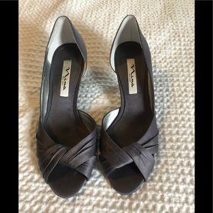 Nina Peep Toe Heels Steel/StealthGray/StealthGray